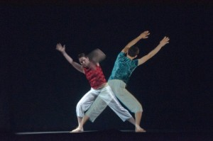 """A """"distance dancing"""" performance (one of the two performers is virtually present) during Thursday evening's demo session."""