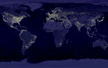 Our current energy grid, as illustrated by the use of nighttime lights visible from outer space [image courtesy the National Science Foundation].