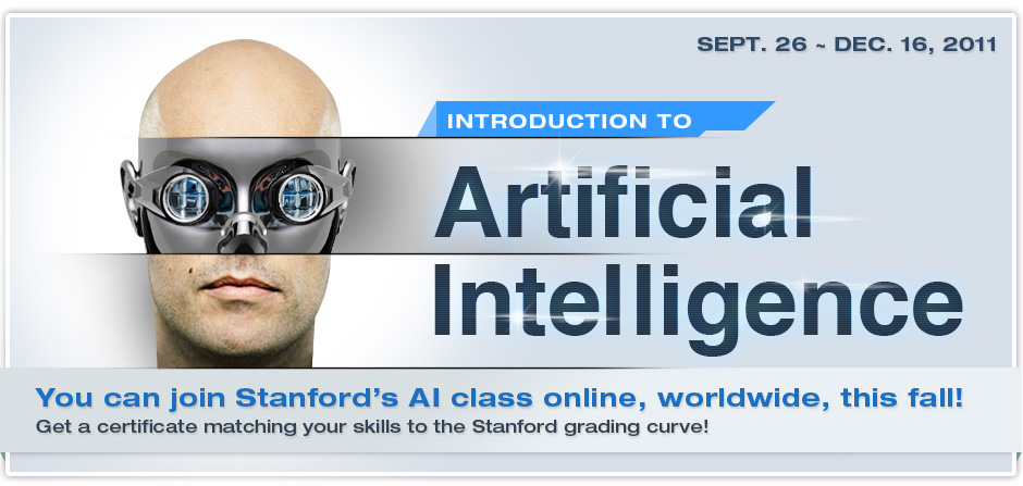 "Stanford's ""Introduction to Artificial Intelligence"" course goes online this fall [image courtesy ai-class.com]."