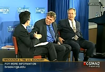 Eric Lander and Larry Summers discuss science and technology R&D and innovation at a Brookings Institution event last week [image courtesy C-SPAN].