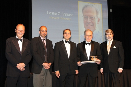 Leslie Valiant receives the 2010 A.M. Turing Award. From left to right: John White, ACM CEO; Shekar Borkar, Intel Fellow; Alfred Spector, Google VP Research and Special Initiatives; Turing Award winner Leslie Valiant, Harvard University; and Alain Chesnais, ACM President [image courtesy ACM.org].