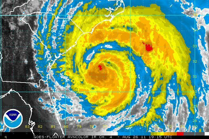 Satellite imagery, taken at at 3:15pm EDT, of Hurricane Irene as it approaches the Carolina coastline [image courtesy NOAA].