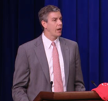 U.S. Secretary of Education Arne Duncan announcing the Digital Promise moments ago at the White House [image courtesy The White House].