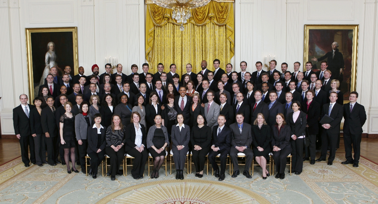 President Barack Obama joins prior-year recipients of the Presidential Early Career Awards for Scientists and Engineers (PECASE) for a group photo in the East Room of the White House, Jan. 13, 2010 (Official White House Photo by Lawrence Jackson). [This photograph is provided by THE WHITE HOUSE as a courtesy and may be printed by the subject(s) in the photograph for personal use only. The photograph may not be manipulated in any way and may not otherwise be reproduced, disseminated or broadcast, without the written permission of the White House Photo Office. This photograph may not be used in any commercial or political materials, advertisements, emails, products, promotions that in any way suggests approval or endorsement of the President, the First Family, or the White House.