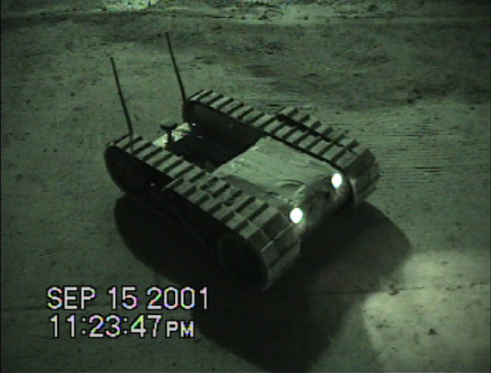 Within days of the Sept. 11 terrorist attacks, Robin Murphy of the NSF Center for Robot-Assisted Search and Rescue (CRASAR) at the University of South Florida and her students deployed shoebox-sized robots to search for victims in places inaccessible to dogs and humans [image courtesy NSF].
