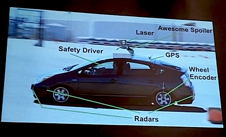 Google's Autonomous Car: The different subsystems that make up the vehicle [image courtesy IEEE Spectrum].