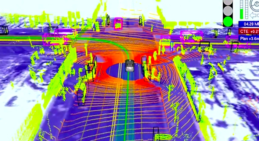 "Google's Autonomous Car: footage of what the on-board computer ""sees"" and how it detects vehicles, pedestrians, and traffic lights [image courtesy IEEE Spectrum]."