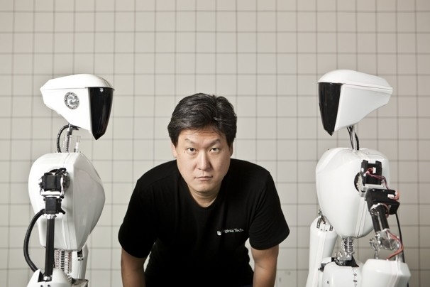 Virginia Tech professor Dennis Hong has made an international name for himself -- and Virginia Tech -- by inventing humanoid robots whose abilities defy imagination [image courtesy Dustin Fenstermacher/The Washington Post].