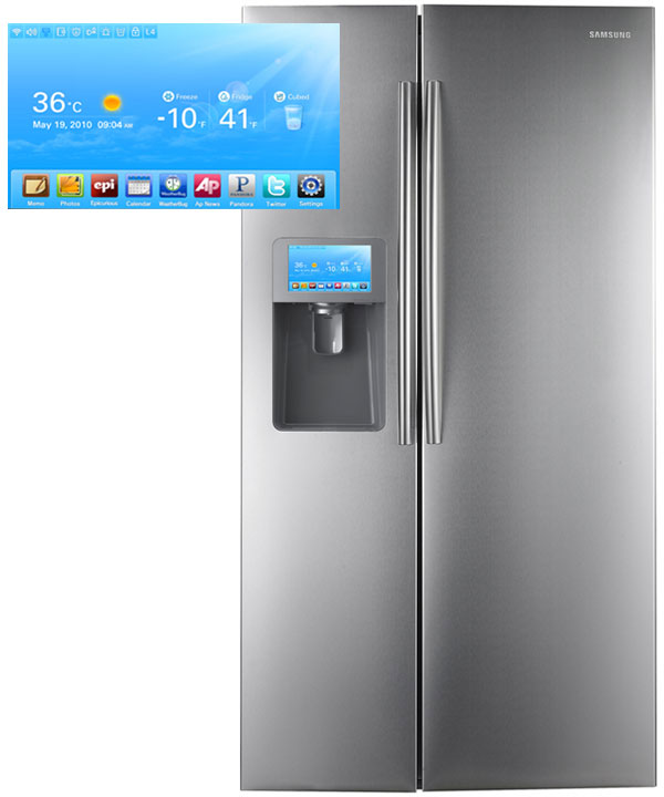 The Samsung RSG309 LCD Refrigerator ($2,700) sports a built-in 8-inch LCD touchscreen on the left-hand door that supports Pandora, WeatherBug, Twitter, Google Calendar, a slideshow viewer for Picasa images and several more apps -- with more in the works [image courtesy Computerworld].