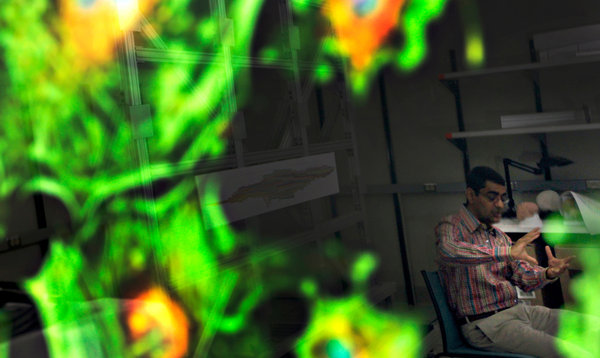 Dharmendra S. Modha of IBM leads a team developing chips that structurally resemble the brain [image courtesy Tony Avelar/Bloomberg News via NYTimes.com].