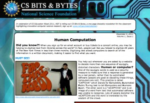NSF: CS Bits & Bytes Newsletter, Vol. 1, Issue 1 [image courtesy NSF].