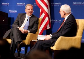 Google Chairman Eric Schmidt (left) responds to questions at an event for the Economic Club of Washington, DC on Monday [image courtesy The Economic Club of Washington, DC/Paul Morse via The Washington Post].