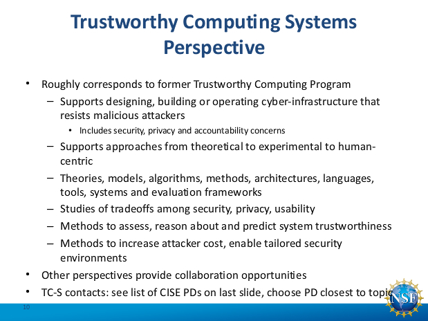 Secure and Trustworthy Computing (SaTC) Webinar [image courtesy NSF].