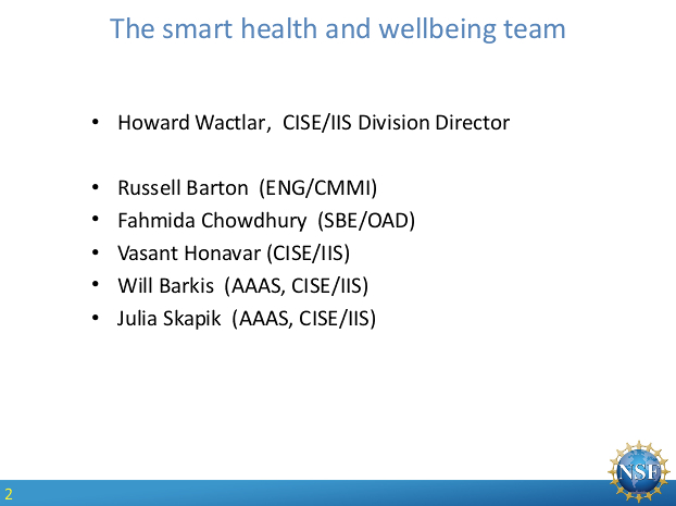 Health and Wellbeing (SHB) program webinar (image courtesy NSF).
