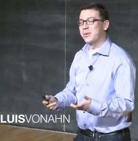Luis von Ahn, announcing Duolingo [image courtesy TED].