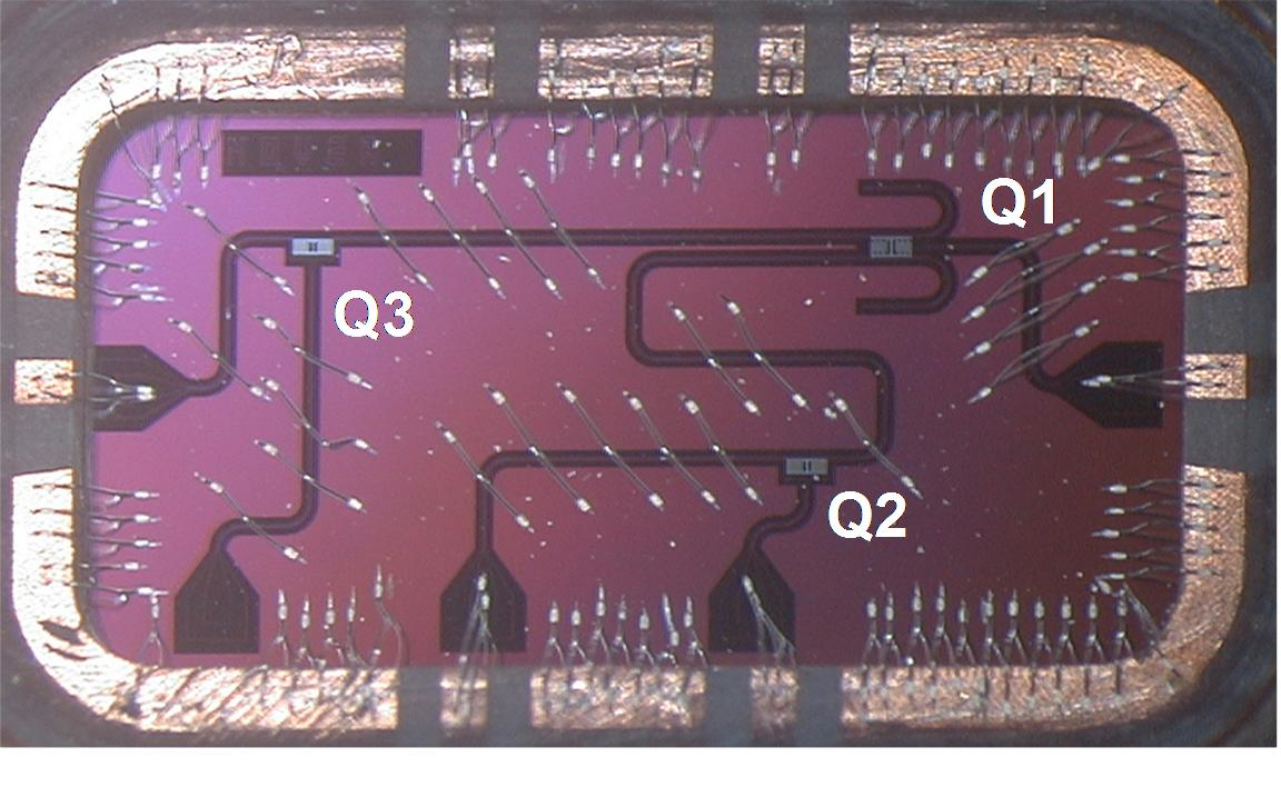 A picture of the Silicon chip housing a total of three qubits. The chip is back-mounted on a PC board and connects to I/O coaxial lines via wire bonds (scale: 8mm x 4mm). A larger assembly of such qubits and resonators is envisioned for a scalable architecture [image courtesy Computerworld].