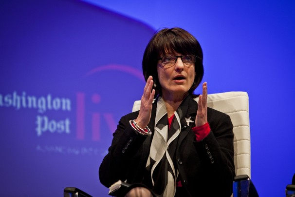 Regina Dugan, DARPA, at a Washington Post Live event in mid-February [image courtesy The Washington Post].