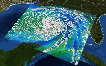 Throughout the 2008 hurricane season, the Texas Advanced Computing Center was an active participant in a NOAA research effort to develop next-generation hurricane models. Teams of scientists relied on TACC's Ranger supercomputer to test high-resolution ensemble hurricane models, and to track evacuation routes from data streams on the ground and from space. Using up to 40,000 processing cores at once, researchers simulated both global and regional weather models and received on-demand access to some of the most powerful hardware in the world enabling real-time, high-resolution ensemble simulations of the storm. This visualization of Hurricane Ike shows the storm developing in the gulf and making landfall on the Texas coast [image courtesy Gregory P. Johnson, Romy Schneider, John Cazes, Karl Schulz, Bill Barth, The University of Texas at Austin; Frank Marks, NOAA; Fuqing Zheng, University of Pennsylvania; Yonghui Weng, Texas A&M; via NSF].