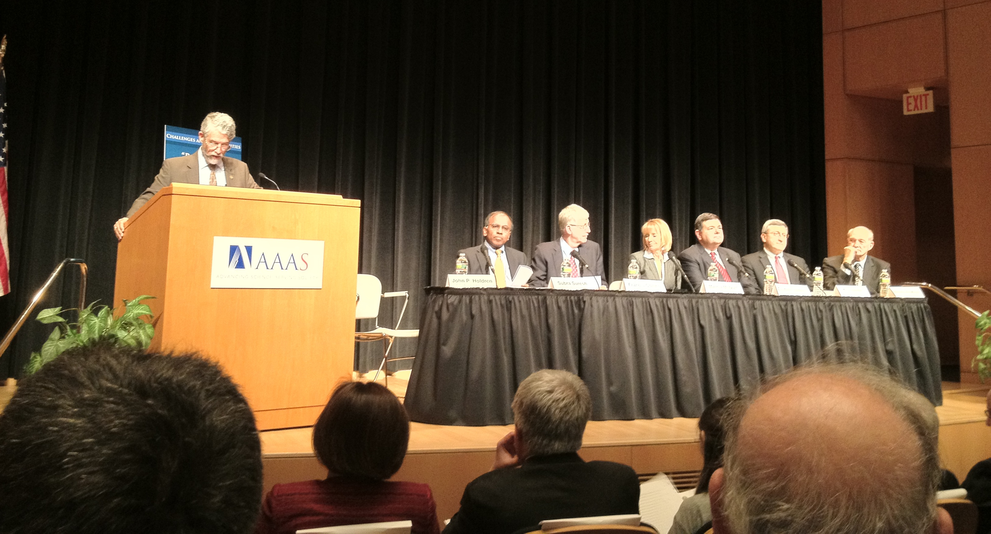 Government officials from the White House Office of Science and Technology Policy (OSTP) and six Federal agencies announce the Big Data R&D Initiative in the AAAS Auditorium in Washington, DC, on Thursday, March 29.