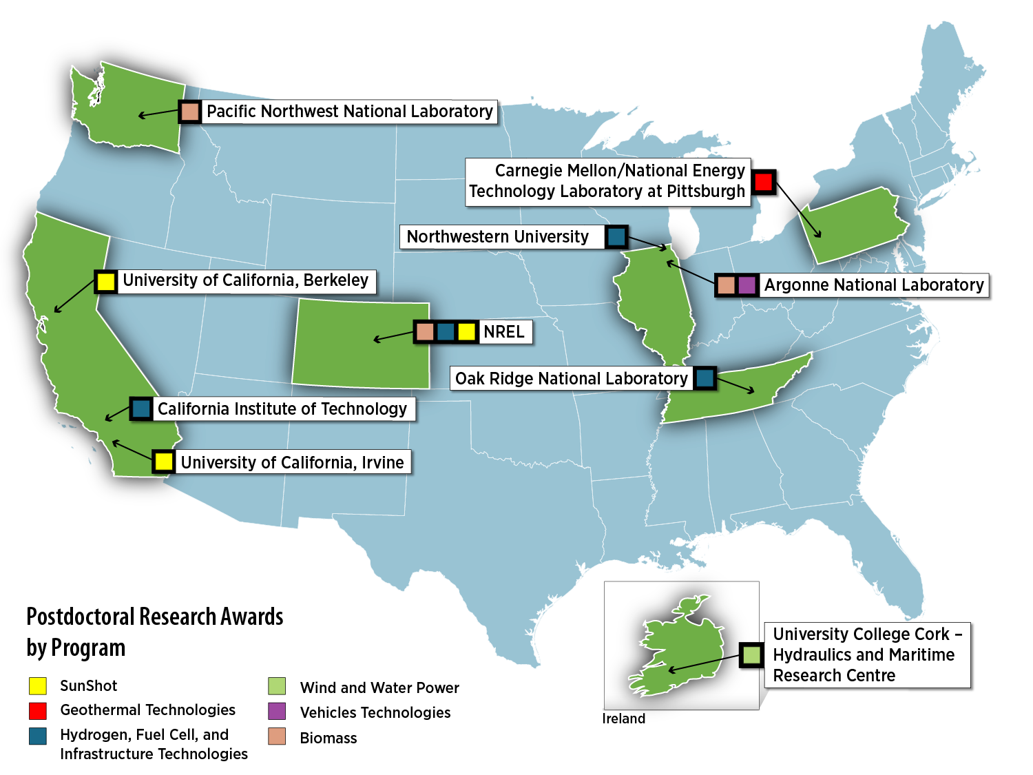 Research sites for the 2011 EERE Postdoctoral Research Awardees [image courtesy DOE/EERE].