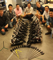 Students with components of the Raven II surgical robotics systems [image courtesy Carolyn Lagattuta via NSF].