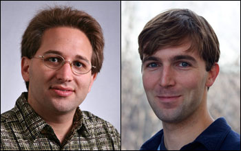 Scott Aaronson of the Massachusetts Institute of Technology (left) and Robert Wood of the Harvard School of Engineering and Applied Sciences (right) will each receive the National Science Foundation's 2012 Alan T. Waterman Award [images courtesy Scott Aaronson, MIT, and Eliza Grinnell, Harvard School of Engineering and Applied Sciences, via NSF].