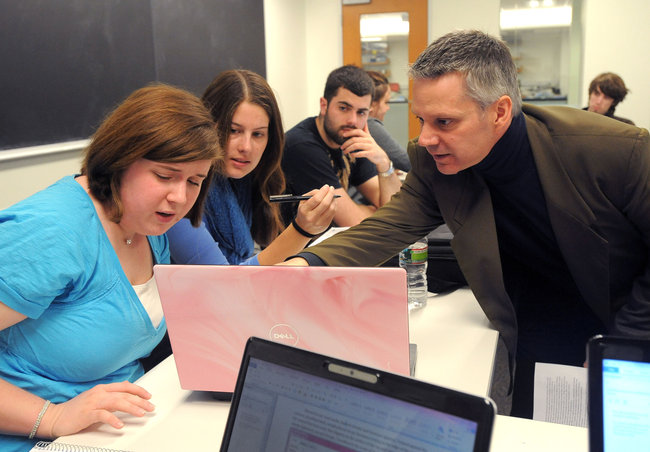 "Mark LeBlanc teaches ""Computing for Poets"" in conjunction with English courses at Wheaton College in Norton, Mass [image courtesy Keith Nordstrom via The New York Times]."