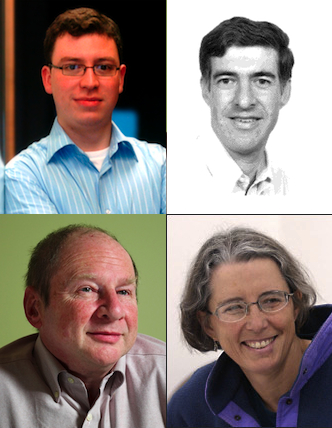 The four computing innovators named as recipients of prestigious ACM awards today: Luis von Ahn, Carnegie Mellon University (top left); Hanan Samet, University of Maryland (top right); Hal Abelson, Massachusetts Institute of Technology (bottom left); and Stephanie Forrest, University of New Mexico (bottom right).