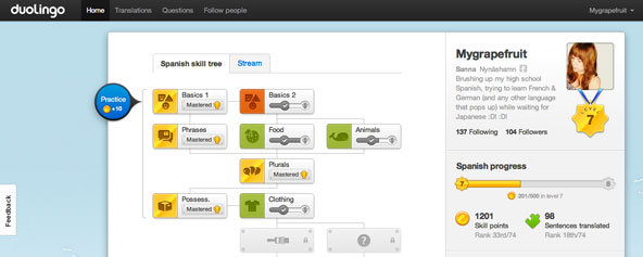 A screenshot of the Duolingo website [image courtesy The New York Times].