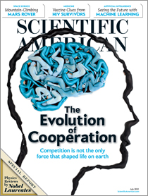 The cover of Scientific American's July 2012 issue, featuring a guest forum by NIH director Francis S. Collins [image courtesy Scientific American].
