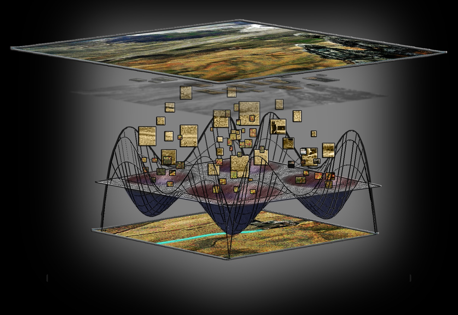 Artist's concept: Through UPSIDE, sensor data is analyzed by an array of self-organizing devices; the array processes the data using inference, where elements of the image are automatically sorted based on similarities and dissimilarities; sensor data flows into the array and target identification and tracking is the output [image courtesy DARPA].