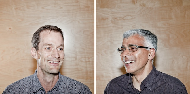 Jeff Dean (left) and Sanjay Ghemawat, software engineers at Google [image courtesy Ariel Zambelich/Wired].