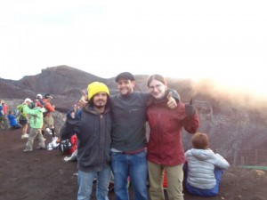 Andy and two other EAPSI Fellows at the top of Mt. Fuji