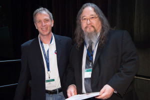 CCC Chair Greg Hager presenting David Ackley with his Blue Sky Ideas Award at AAAI 2016.